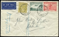 "Lot 969 [1 of 2]:1936 (Jun 24) airmail cover (slight wrinkling) to Adelaide endorsed ""Express Delivery"" with 4d KGV, 3d Airmail & 2d Cable tied by Ceduna '24JE36' datestamps, Adelaide arrival backstamp."