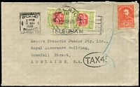 Lot 971 [1 of 2]:1938 (Aug 11) cover from Brisbane to Adelaide irregularly franked with KGV 2d Adhesive Duty, taxed at double deficiency with 2d Due pair added & tied by Adelaide datestamp.