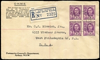 Lot 973 [2 of 5]:1940-60 Selection including 1946 Donnybrook (WA) registered double-rate cover to Penang, 1949 PMG's Dept registered surface rate to USA with KGVI 2d block of 4, 1951 registered to England with KGVI 7½d block of 4, 1951 Australia-Chile flight cover with 5/- franking, 1952 registered to France with 9d Platypus block of 4, 1954 to France taxed with French dues added, etc; condition variable. (10 items)