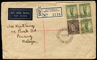 Lot 973 [1 of 5]:1940-60 Selection including 1946 Donnybrook (WA) registered double-rate cover to Penang, 1949 PMG's Dept registered surface rate to USA with KGVI 2d block of 4, 1951 registered to England with KGVI 7½d block of 4, 1951 Australia-Chile flight cover with 5/- franking, 1952 registered to France with 9d Platypus block of 4, 1954 to France taxed with French dues added, etc; condition variable. (10 items)