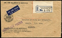 Lot 409 [1 of 2]:1948 (Oct 28) PMG's Dept registered free airmail cover to Director of Posts & Telegraphs in US Zone, Berlin, Bulk Registration label, backstamped at Melbourne, Sydney, New York (Army Postal Service) and Berlin.