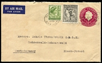 Lot 348 [3 of 5]:1953-64 Uprated Stationery Envelopes all to same commercial addressee in Germany with 1953-58 uprated to 2/- airmail rate x3, one with Melbourne Olympics slogan cancel, plus 1962-64 uprated to 2/3d rate x2 one with 11d Bandicoot pair added, the other with 1/6d Galah & 2d QEII pair added.