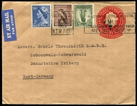 Lot 348 [1 of 5]:1953-64 Uprated Stationery Envelopes all to same commercial addressee in Germany with 1953-58 uprated to 2/- airmail rate x3, one with Melbourne Olympics slogan cancel, plus 1962-64 uprated to 2/3d rate x2 one with 11d Bandicoot pair added, the other with 1/6d Galah & 2d QEII pair added.