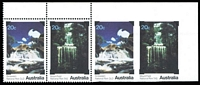 Lot 912:1979 National Parks 20c Waterfalls strip of 4, the third unit Imperforate on three sides and the fourth unit Completely imperforate, fresh MUH, Cat $1,250.