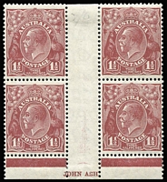 Lot 173 [3 of 4]:1½d Red-Brown SMult P13½x12½ Ash imprint block (lower line of imprint guillotened off), CofA Ash imprint block plus Plate 1 (few tonespots) & Plate 3 (crease) Plate dot blocks, mild even toning. (4 blocks)