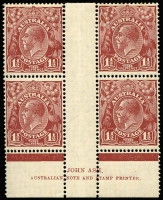 Lot 173 [1 of 4]:1½d Red-Brown SMult P13½x12½ Ash imprint block (lower line of imprint guillotened off), CofA Ash imprint block plus Plate 1 (few tonespots) & Plate 3 (crease) Plate dot blocks, mild even toning. (4 blocks)