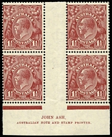 Lot 862 [2 of 2]:1½d Red-Brown Die II Plate 1 (3mm marginal line) & Plate 3 (2mm marginal line) Ash imprint blocks of 4 BW #94(1)za & 94(3)za, lower units MUH, Cat $240+.