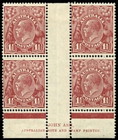 Lot 862 [1 of 2]:1½d Red-Brown Die II Plate 1 (3mm marginal line) & Plate 3 (2mm marginal line) Ash imprint blocks of 4 BW #94(1)za & 94(3)za, lower units MUH, Cat $240+.