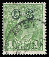 Lot 697:1d Green Watermark Reversed Overprinted 'OS' BW #82(OS)aa, fine used, Cat $3,000. Drury Certificate (2018).