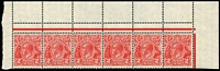 Lot 698:2d Red Die III BW #103 strip of 6 from top of pane with Aberrant perfs in upper margin, MUH.