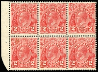 Lot 719:2d Red Die III Booklet Pane of 6 Watermark inverted BW #103ca, lower-left unit small surface mark, one unit MVLH, others MUH, Cat $125+.