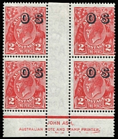 Lot 866:2d Red Overprinted 'OS' Ash imprint block of 4, ink marks under the imprint, lower units MUH, Cat $175.