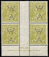 Lot 868:4d Olive Perf 'WA' Plate 3 Ash 'N' over 'A' imprint block of 4 BW #117z, light storage adhesion marks on the mildly toned gum, Cat $400+.