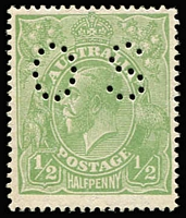 Lot 240:½d Green Perf 'OS' variety Thin fraction at right [5R43] BW #65ba(5)s, MUH, Cat $350 (as mounted mint perf 'OS' flaw).