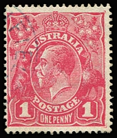 Lot 824:1d Carmine-Pink (G101) Cooke Printing BW #73A, VFU, Cat $275. Starling Certificate (2018).