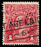 Lot 245:1d Deep Carmine (Aniline) (G108) Harrison Printing Perf 'OS' variety Thin 'ONE PENNY' (retouch) BW #74Eb(4)l, Adelaide machine cancel, Cat $1,250++. Desirable combination of a rare shade and a sought-after variety. Drury Certificate (2018).