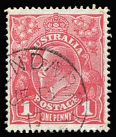 Lot 621 [1 of 4]:1d Red Accumulation in stockbook, Smooth & Rough Papers, some official perfins, good variety of shades, likely to be postmark interest. Well worth investigating. (may 100s)