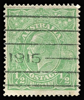 Lot 625:½d Green Comb Perf Electro 3 variety Clubbed fraction bar at left [3R11] BW #63(3)r, machine cancel largely clear of flaw, Cat $1,500.