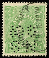 Lot 112:½d Green Comb Perf Electro 3 Watermark inverted with flaw Clubbed fraction bar at left [3R11], BW #63a(3)r, 'NS/GCo' (North Shore Gas Co) perfin, North Sydney '7FEB16' datestamp. Rare combination of varieties & probably unique with private perfin. Drury Certificate (2013).