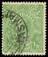 Lot 111:½d Green Comb Perf Electro 3 variety Cracked electro - crack through SW corner [3L58] BW #63(3)o, fine used, Cat $2,000. Rare and under-catalogued.