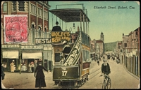 Lot 673:1½d Red Die I Electro 22 variety Thin 'RAL' (retouch) [L28] BW #89(22)j tied to 1926 (Aug 23) PPC showing Elizabeth St, Hobart tram scene.
