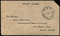Lot 363 [2 of 2]:1/4d Greenish Blue BW #128B plus 4½d violet & ½d orange tied by Sydney machine cancel to Commonwealth Bank of Australia receipt acknowlegement printed postcard addressed to Wagga Wagga PO (backstamped). Rare stamp on cover, Cat $1,000.