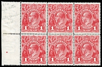 Lot 630:1d Carmine-Red (G1) Single-Line Perf BW #70A, marginal block of 6, mounted in margin only, stamps fresh MUH, Cat $240+.