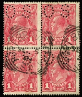 Lot 641:1d Carmine-Rose (G30) Smooth Paper Perf 'OS' block of 4 comprising two Die II-I pairs BW #71Vbb(1)ic x2, Port Broughton (SA) squared-circle datestamps, Cat $550+. Drury Certificate (2011).