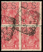 Lot 140:1d Carmine-Rose (G30) Smooth Paper Perf 'OS' Die II-I pairs 71V(1)ia x2 in block of 4, fine used with Port Broughton (SA) squared-circle datestamps, Cat $550+. Drury Certificate (2011).