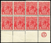 Lot 670:1d Red Die III 'CA' Monogram BW #75zb block of 8, lower units MUH. Fine and fresh, Cat $4,300++. Rare positional block.
