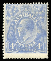 Lot 349:4d Blue Cooke Plates variety Thin 'FOUR PENCE' retouch (late state) [2R12] BW #112(2)rb, fine MLH, Cat $1,100. Drury Certificate (2018).