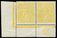 Lot 802:4d Lime-Yellow Plate 1 'JBC' Monogram corner pair BW #110D(1)z, hinged on left unit & in margins, right unit MUH, Cat $5,000+. Rare monogram in this shade! Drury Certificate (2018).