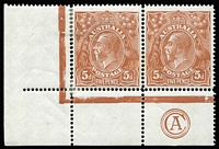 Lot 813:5d Chestnut Die I Smooth Paper Single Line Perf 'CA' Monogram pair with varieties Retouched shading lines behing roo & Damaged NW corner, state II, with additional flaw in beard [1L55-56] BW #122za, hinge reinforcement, monogram unit MVLH, Cat $1,500.