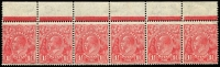 Lot 416:1½d Red Die II Plate 1 Plate dot strip of 6 BW #92(1)z with BW listed varieties No top to crown [R1] & Bottom frame cut under 'HALFP' [R5], mounted in sheet margin only, stamps MUH, Cat $190+.