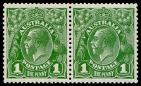Lot 690:1d Green Die II-I pair BW #81(1)ia, trivial gum blemish, excellent centring, MUH, Cat $150.