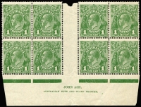 Lot 262:1d Green Ash 'N' over 'N' imprint block of 8 with varieties Ferns [VII/54] and Retouch to 'RA' of 'AUSTRALIA' joined [VII/60], mild even gum tone, six units MUH.BW #80(4)zb, Cat $175+.
