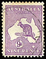 Lot 18 [2 of 3]:9d Varieties with Third Wmk Die II Flaw on last 'E' of 'PENCE' unused; CofA Substituted cliché - flaws in Gulf of Carpentaria (some perf toning) and Shading flaw over second 'E' of 'PENCE' [4R8], both used. (3)