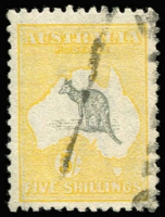 Lot 19 [3 of 4]:Selection with [1] 2nd Wmk 2/- with lightly struck parcels cancel; [2] 3rd Wmk 5/- parcels cancel; [3] SMult 5/- Perf 'OS' CTO; [4] Cof A 10/- with crease & 2mm perf groove tear at top right; Cat $800+ (ex CofA 10/-). (4)