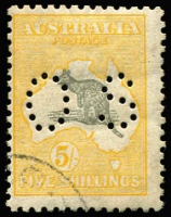Lot 19 [1 of 4]:Selection with [1] 2nd Wmk 2/- with lightly struck parcels cancel; [2] 3rd Wmk 5/- parcels cancel; [3] SMult 5/- Perf 'OS' CTO; [4] Cof A 10/- with crease & 2mm perf groove tear at top right; Cat $800+ (ex CofA 10/-). (4)