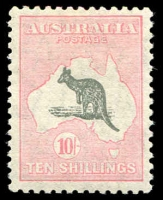 Lot 608:10/- Grey & Aniline Pink BW #50D, very well centred, MLH, Cat $1,750. Drury Certificate (2018).