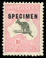 Lot 112:10/- Grey & Pale Pink Optd 'SPECIMEN' Type C Sub-type 2 overprint - shaved 'P' BW #50xd, mildly toned gum, Cat $2,000. Drury Certificate (2018).