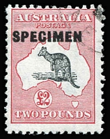 Lot 610:£2 Grey-Black & Crimson type D 'SPECIMEN' BW #58x, with bogus (CTO) corner cancel, with gum, Cat $125.