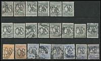 Lot 251 [2 of 4]:Perf 'OS' Array with Perf Large 'OS' 1d x29 with a few listed varieties, 2d x14, 4d, 5d & 6d x6; Perf Small 'OS' ½d x2, 1d x23 (plus perf 'OS/NSW' x5), 2d x15, 3d x6, 5d, 6d x4 & 9d; condition variable but many are fine. (100+)