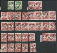 Lot 251 [3 of 4]:Perf 'OS' Array with Perf Large 'OS' 1d x29 with a few listed varieties, 2d x14, 4d, 5d & 6d x6; Perf Small 'OS' ½d x2, 1d x23 (plus perf 'OS/NSW' x5), 2d x15, 3d x6, 5d, 6d x4 & 9d; condition variable but many are fine. (100+)