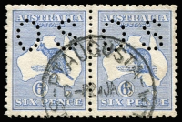 Lot 22 [1 of 2]:Perf 'OS' Selection with Small 'OS' 2d Break in Queensland coast [1R42] BW #6(1)o, 2½d, 6d pair, 1/- & 2/-; Large 'OS' 2d Scratch under 'P' of 'POSTAGE' [2R10], 4d (short perf), 6d & 1/-, generally fine, Cat $1,300+. (10)