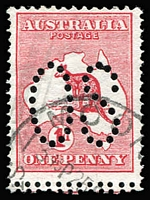 Lot 508:1d Deep Red Die I perf large 'OS' with Double perforations at base (& at sides) BW #2Dba,b, fine used, Cat $375. Drury Certificate (2018)