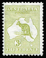 Lot 84:3d Olive-Green Die II variety White flaw over 'T' of 'THREE' [1L55] BW #12D(1)d, fine mint Cat $1,900 (price error in Brusden White).