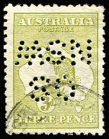 "Lot 517:3d Olive-Green Die I Perf 'OS/NSW' (Inverted) BW #12 (variant), fine used. A great rarity. Ceremuga Certificate (2016) states ""...1st example known to me""."