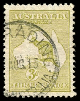 Lot 36:3d Olive Die I variety Doubling of right frame and Queensland east coast, 1913 Quairading (WA) datestamp. [A similar used example sold for $4,800 in our March 2010 auction.]