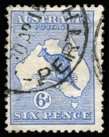 Lot 47:6d Blue Die II Watermark inverted BW #17a, few nibbed perfs, Perth cds, Cat $1,000. Drury Certificate (2018).